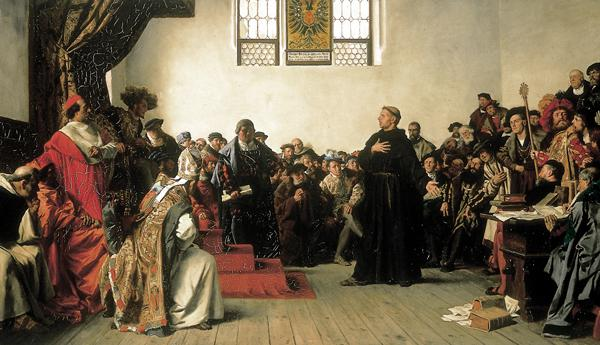 Martin Luther at the Diet of Worms by Anton Alexander von Werner (1843-1915) (click to enlarge)