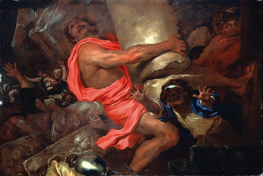 """""""Samson Destroying the Temple of the Philistines,"""" by Giovanni Benedetto Castiglione, 17th century (click image to enlarge)"""